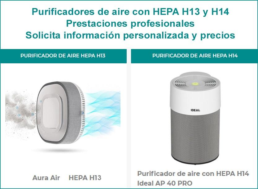 Purificadores de aire con filtro hepa h13 y h14