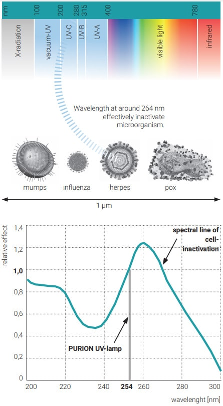 Longitud de onda UV-C desinfección de patógenos